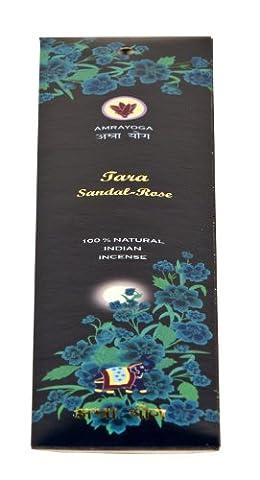 Bâtonnets d'encens indiens Tara Sandal Rose - 100 % naturel, 21 bâtonnets