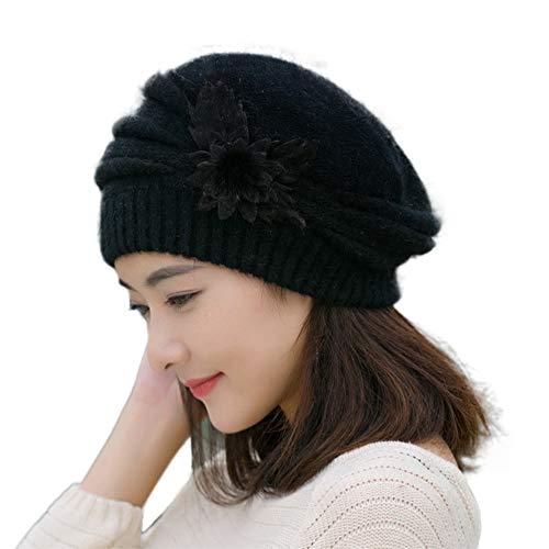 Damen Mütze, Winter, Baskenmütze, elegant, mit Blumenmuster, Strickmütze Schwarz