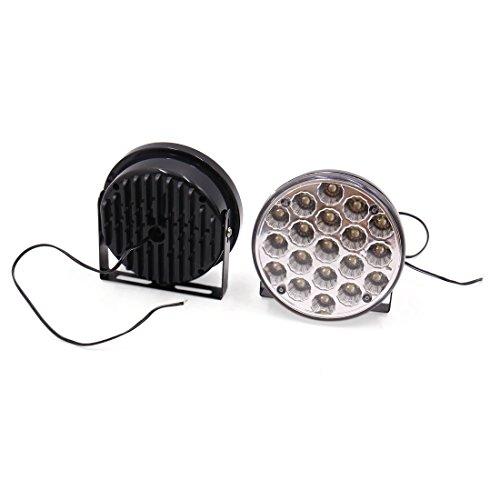 sourcing map 2pc noir Shell rond blanc 19 LED Auto éclairage diurne DRL 12V DC