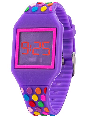 Kiddus Kinder Mädchen und Jungen Uhr Digitale Led Silikon Armband KI10212 Farbpunkte