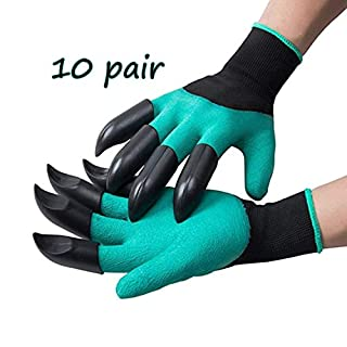Garden Gloves with Claws, Great for Digging Weeding Seeding poking -Safe for Rose Pruning -Best Gardening Tool - for Digging and Planting,10 Pair (Color : Green)
