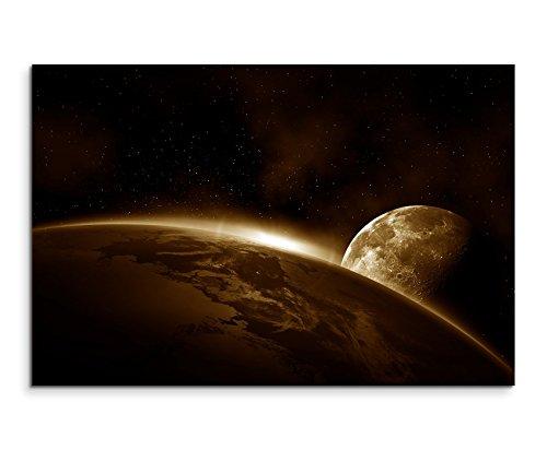 Schlafzimmer-art-print (120x80cm XXL riesige Bilder fertig gerahmt mit Keilrahmenin Sepia Weltall Erde Mond Sonnenaufgang)