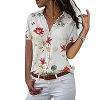 Vaugan overhemd voor dames, bloemenpatroon, korte mouwen, V-hals, losse vrijetijdsstijl, nauwsluitende pasvorm, blouse-bovenstuk voor de zomer