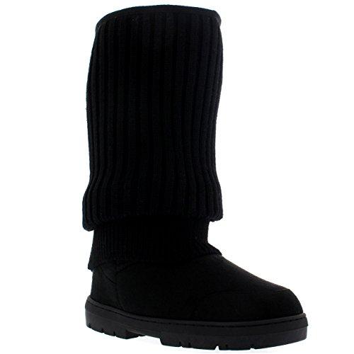 Damen Tall Knitted Cardy Hängen Winter Schnee Regen Im Freien Warm Schuh Stiefel Schwarz Gestrickt