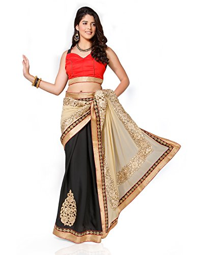 Chirag Sarees Synthetic Saree (3432_Black)