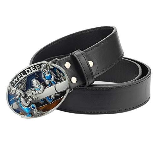 Ddcjc Cinturón Cinturón De Cuero Del Hombre De La Manera Soldador Hebilla Cinturón Obrero Soldadura Trabajador Soldador Profesión Hebilla De Metal Cinturón Para Regalo Hombres