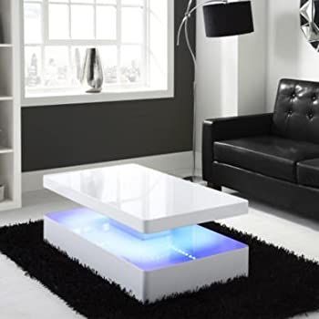Tiffany White High Gloss Rectangular Coffee Table With LED Lighting Part 44