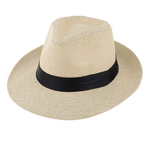 Baoblaze Herren Damen Panamahut Fedora Trilby Bogart Hut Strohhut Sommerhut Sonnenhut - Beige - Panama Sombrero