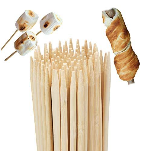 Relaxdays Pack de 100 Brochetas Madera, Bambú, Beige, 90 cm