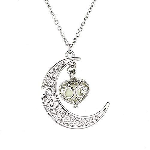 tte Mond Anhänger Halskette Großes Geschenk für Frauen Glow Luminous Hollow Mit Ball Night Damen-Halskette Weitankerkette Halsketten ()