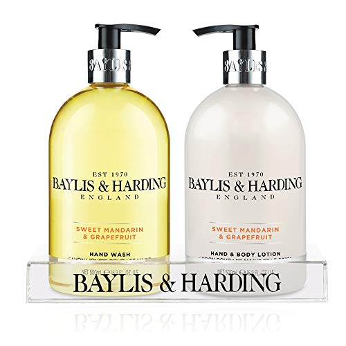 Hand Lotion Set (Baylis & Harding Mosaic Bottle Hand Wash and Hand Lotion Set 2 x 500 ml in Clear Stand)