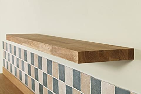 Solid Oak Timber Block Floating Shelf - Available in a Variety of Sizes (300mm x 200mm x 40mm)