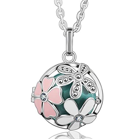 Eudora Harmony Ball Flower Pendant Crystal Women Necklace Lockets Sterling Silver Plated Bola Seagreen