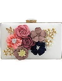 cd8b32ce29c Donna Clutch Borsa Señoras de las mujeres de Cuero de LA PU 3D Embragues de Flores  Bolsos de Noche Fiesta de Boda Cócteles Monederos…