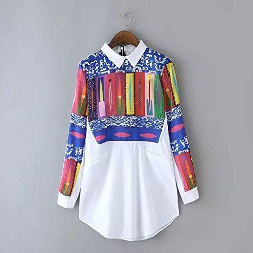 MagiDeal Maglia A Manica Lunga Camicia Floreale Parti Superiori Di Modo Chiffon Casuale Camicetta Multicolore