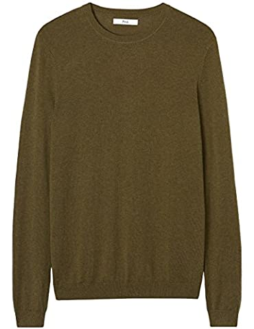 FIND Men's Merino Wool Mix Crew Neck Jumper, Green (Military), X-Large