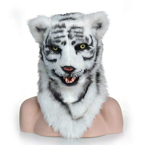 IENPAJNEPQN Neuheit pelzigen Stoff Tiger Kopf Maske Halloween Theater Party Kostüm Tier Masken (Color : White) (White Tiger Kostüm Zubehör)