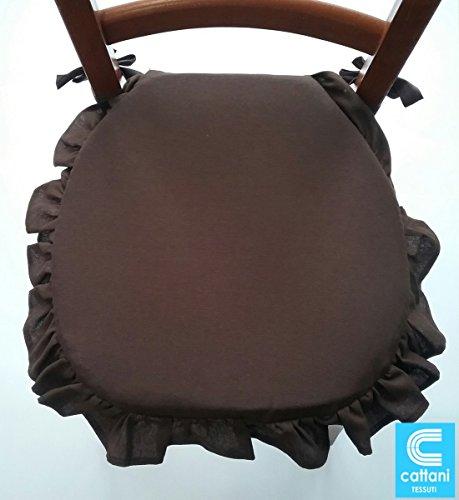 stuhlkissen 4er set - Stoff schwere Baumwolle - mit Volant - mit Bändern - mit Reißverschluss - farbe beige Größe cm 38 x 38 + Volant - Dicke Kissen 4 cm (- Reißverschluss-band)
