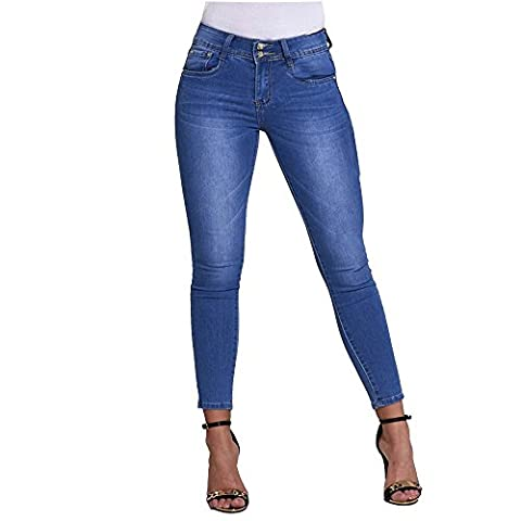 SCO New Womens Cropped Ankle Stretch Skinny Mid Rise Jeans (14, Light Denim)