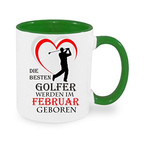 Die besten Golfer werden im Februar geboren - Kaffeetasse, bedruckte Tasse mit Sprüchen oder Bildern - auch individuelle Gestaltung
