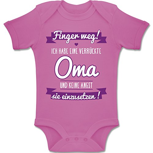 Shirtracer Sprüche Baby - Ich Habe eine verrückte Oma Lila - 1-3 Monate - Pink - BZ10 - Baby Body Kurzarm Jungen Mädchen (Mädchen Spaß, Kleidung Für)