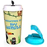 Sipper Cup With Coffee & Sipper Lids   Printed Coffee Sipper & Gym Sipper - 500 Ml, Food Safe, BPA Free And Recyclable.