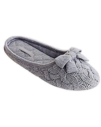 Minetom Donne Autunno E In Inverno Moda Bowknot Decorazione Tinta Unita Knit Morbido E Caldo Pantofole Grigio EU 38-39