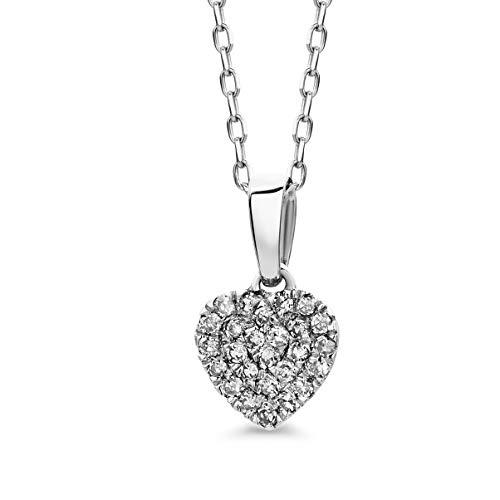 Orovi Collana - Pendente - Ciondolo Donna Cuore con Catena in Oro Bianco con Diamanti Taglio Brillante Ct 0.13 Oro 9 Kt / 375 Catenina Cm 45