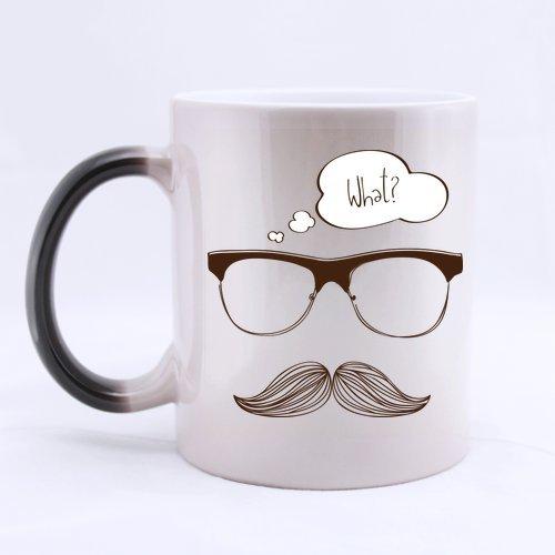 Generic Custom Motif moustache Change avec la chaleur en céramique Magic Morphing Mug Café Thé Lait Mug (311,8 gram) pour des vacances Cadeau ou cadeau d'anniversaire