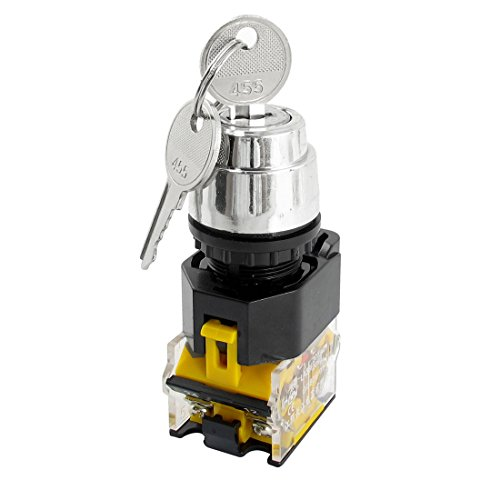 380V 10A 22mm Dia Gewinde DPST 2Positionen Schlüssel Rotary Selector Schalter -