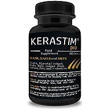 KERASTIM PRO - Tratamiento anti pérdida de cabello, repetición para el pelo, uñas y piel con biotina, extracto de hortaliza, extracto de kola de Gotu, zinc y 7 vitaminas. !