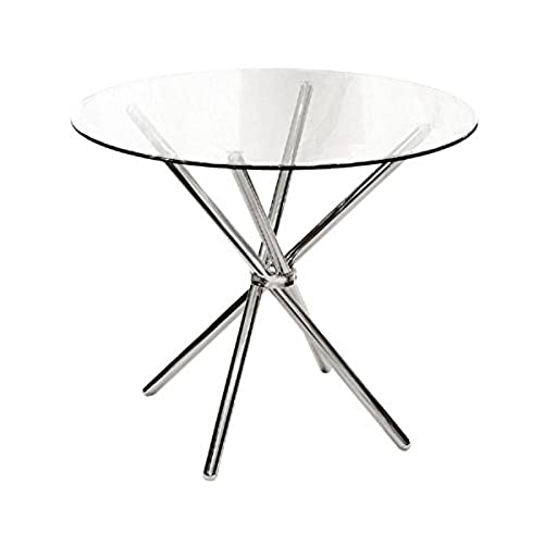 ASPECT VERONA ROUND DINING TABLE Clear Tempered Glass/Chrome Legs