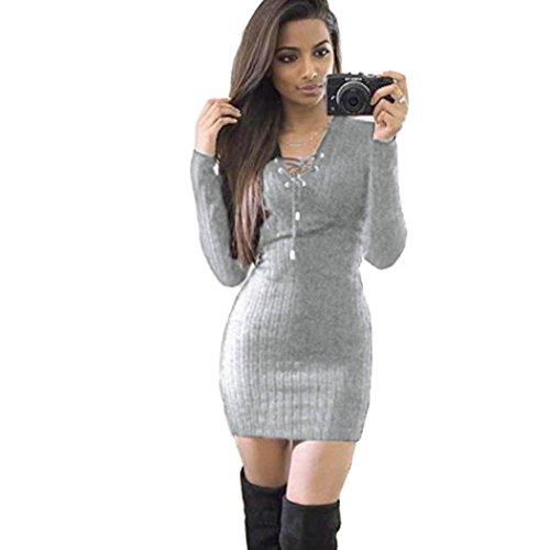 LSAltd Damen V-Ausschnitt Bandage Solide Strickkleid Winter Langarm Pullover Kleid (S, Grau)