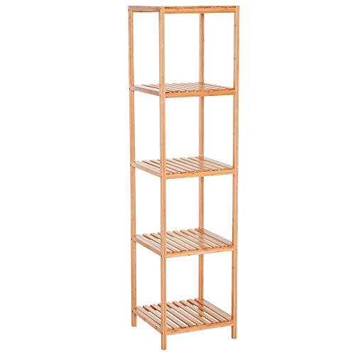 Homcom scaffale portaoggetti per bagno cucina balcone in bambù con 5 ripiani resistente 36 × 36 × 145cm