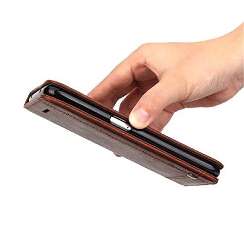 iPhone 7 Plus Coque, Apple iPhone 7 Plus Coque, Lifeturt [ Rouge ] [book-style] Flip Case Coque en PU Cuir Housse de Protection Étui à rabat Case Cover Ultra Slim Portefeuille PU Cuir avec stand de Ca E02-Marron foncé4665