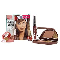 BOURJOIS MAKE UP KIT BRONZE UP - DELICE DE SOLEIL COMPACT BRONZING POWDER SPF15 - LITTLE ROUND POT BLUSHER ROSE FRISSON - 3D WATERPROOF LIPGLOSS BRUN EXOTIC & FREE NAIL MINI NAIL VARNISH - MAKE UP SET