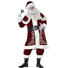 Idea Regalo - ShiyiUP Costume di Babbo Natale Costume di Babbo Natale Abito di Natale Abito da Uomo di Natale Costume da Babbo Natale