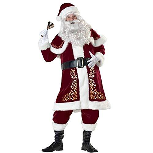ShiyiUP Weihnachten Weihnachtsmann Kostüm Cosplay für Erwachsene Luxus Anzug,XXL(EU 50) (Asiatisch Bart Kostüm)