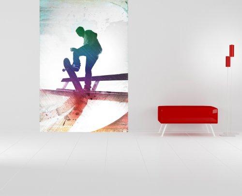 selbstklebende Fototapete - Grungy Skateboarder - 100x150 cm - Wandtapete – Poster – Dekoration – Wandbild – Wandposter - Bild – Wandbilder - Wanddeko
