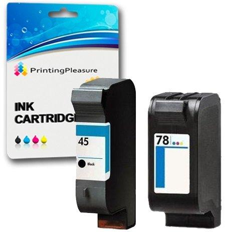 PRINTING PLEASURE SET of 2 Remanufactured Printer Ink Cartridges for HP Color Copier 180, 190, 280, 290 / Deskjet 1180c, 1220c, 1220ps, 1280, 6120, 6122, 6127, 9300, 930c, 930cm, 932c, 935c, 950c, 952c, 959c, 960c, 970cse, 970cxi. 980cxi, 990cse, 990cxi, 995c, 995ck / Fax 1220 / Officejet g55, g85, g95, k60, k80, 1170 / Photosmart 1000, 1100, 1115, 1215, 1215vm, 1218, 1218xi, 1315, P1000, P1100, P1100xi, P1215, P1215vm, P1218, P1218xi, P1315 / Replacement for HP 45 (C51645AE) & HP 78 (C6578AE)