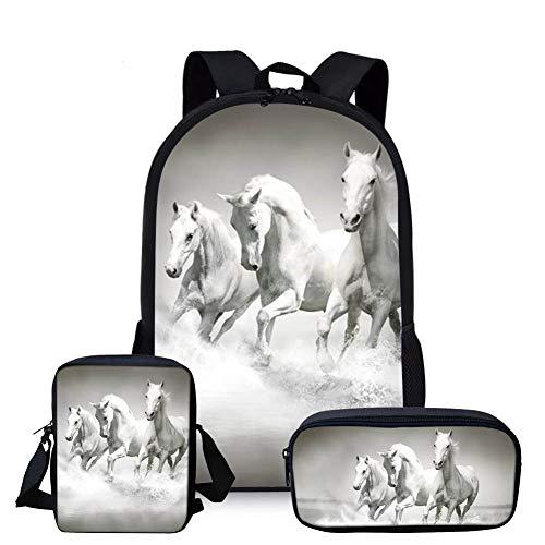 Nopersonality Klassische Pferd Rucksäcke Jungen Mädchen Schulrucksäcke Teenager 3-teiliges Set Schultasche Ultraleicht Junior Horse Schoolbag Schulranzen Rucksack