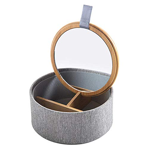 FIONAT Kosmetik Organizer Spiegel Schmuckschatulle Desktop Tragbaren Ring Schmuckschatulle Ohrringe Ohrringe Lippenstift Aufbewahrungsbox, Rund (Desktop-schmuck-organizer)