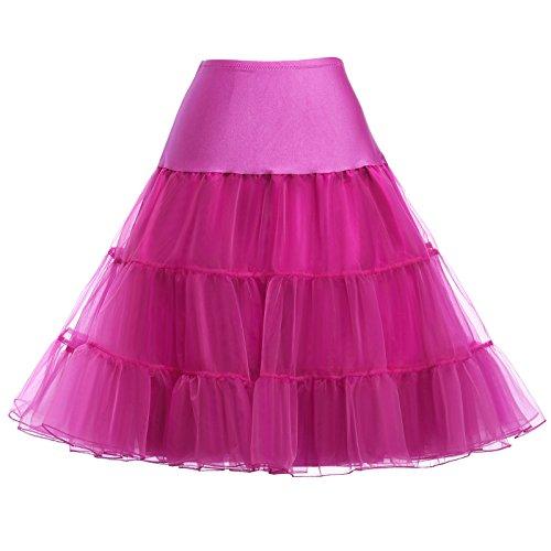 rock Unterrock Wedding bridal 1950s Underskirt für Rockabilly Kleid Fuchsie Größe S CL008922-12,C1,Fuchsie ()