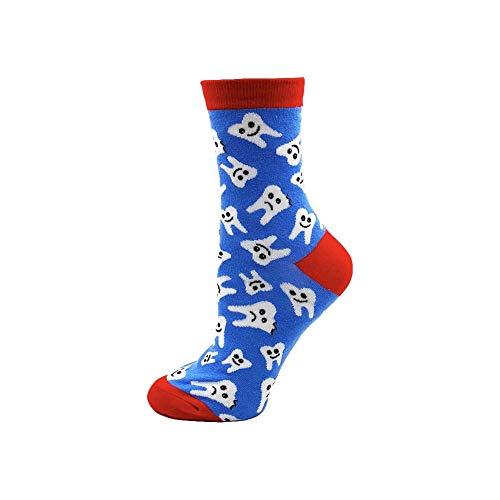 ZHANGJIANJUN Baumwolle Frauen Crew Socken Cartoon Miss Universe Schädel Elefant Chili Zahn Essen Hund Muster lustige Socken für Mädchen 3 Paare, C338