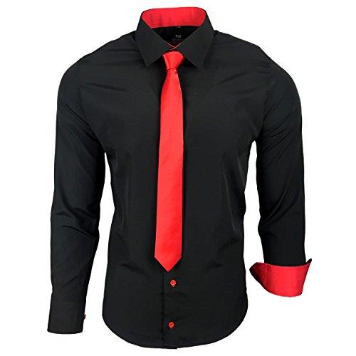 R-44-KR Herren Kontrast Hemd Business Hemden mit Krawatte Hochzeit Freizeit Fit, Farbe:Schwarz / Rot;Größe:S (Fit Krawatte)