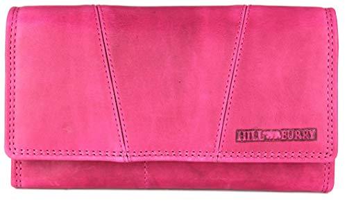 Hill Burry Vintage Leder Damen Geldbörse Portemonnaie Geldbeutel Portmonee aus weichem Leder in pink - 17,5x10x3cm (B x H x T) Damen Pink Leder