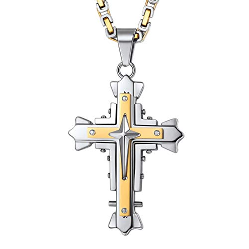 PROSTEEL Herren Halskette Steampunk Stil vergoldet Edelstahl Kreuz Anhänger mit 55cm/4mm Königskette Religiöser Modeschmuck für Biker Rocker Männer Jungen(Modell 2) (Vergoldete Anhänger Für Männer)