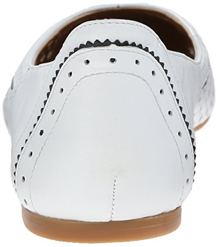 Nine West Accocella Cuir Chaussure Plate Wht-Blk