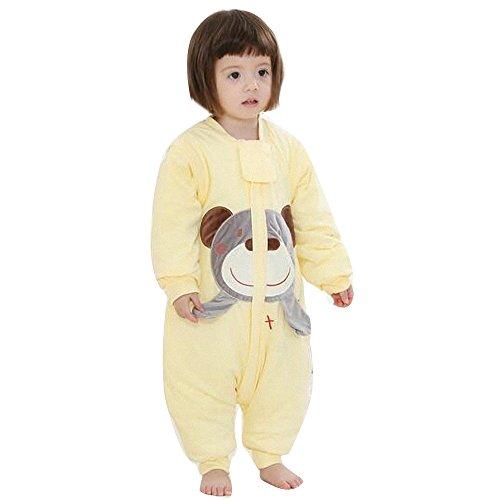 Schläfsack baby Bär. Junge Mädchen winter mit Füßen kinder schlafanzug Baumwollen Lange Ärmel pyjama/overall /Strampler.Schneeanzüger. 2.5tog (M:85 - 95cm( 2-3 jährige), Gelb) (Weiß Flanell-pyjama)