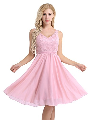 Feeshow Damen Ärmellos V-Ausschnitt Rückenfrei Blumen Spitze Chiffon Kleid festlich knielang Brautjungfer Cocktailkleid Party Abendkleid mit Träger Faltenrock Langes Kleid Rosa 42 (Kleid Satin Plissee)